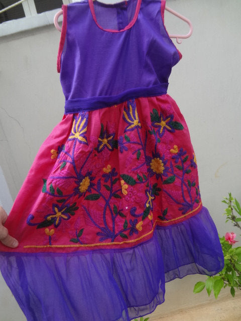 Toddler Girls Bright Magenta Pink and Purple Cotton Flare, Fancy Embroidered Dress in 12M, 3T, or 5T - Naiya 2866
