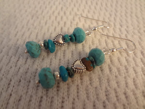 Genuine Turquoise and Tibetan Silver Heart Handmade Earrings - Shirley F085