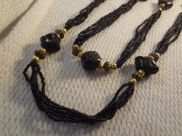 Extra Long Gathered Strand Black Seed Bead Partywear Necklace - F033