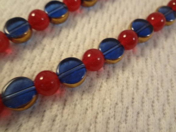 True Blue with Alternating Red Simple Necklace and Earring Set - F006