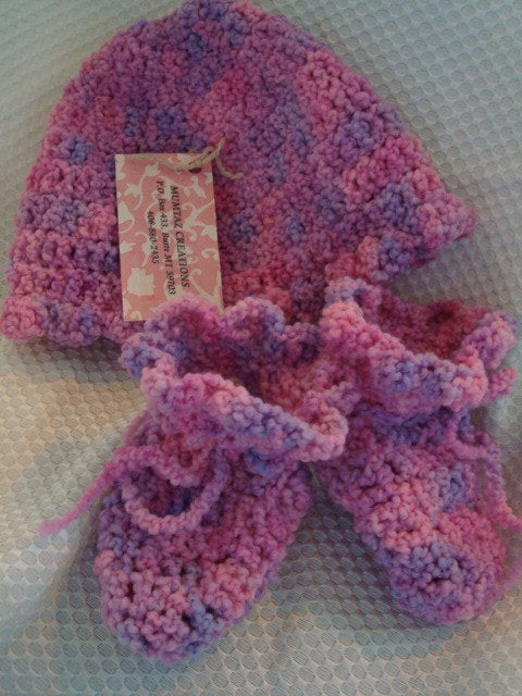 Pink Petals Baby Girl Matching Hand-Painted Wool Hat and Bootie Set - 154