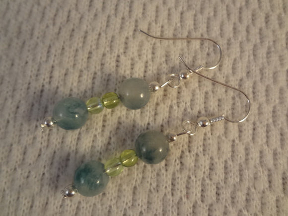 Green Tone Jade Stone and Czech Glass Small Silver Dangle Earrings - Kristie F084