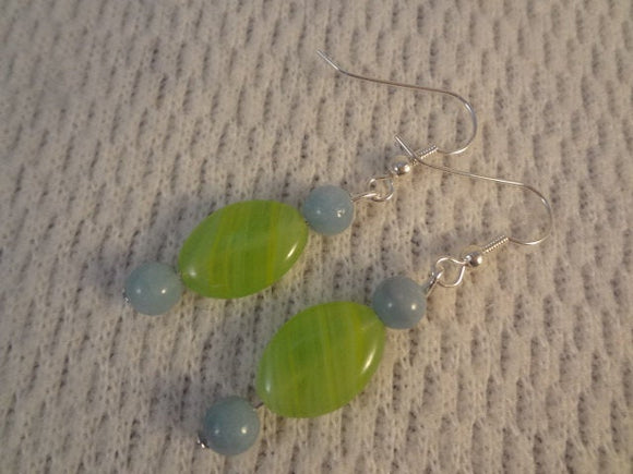 Genuine Amazonite and Czech Glass Silver Handmade Earrings - Danielle F082