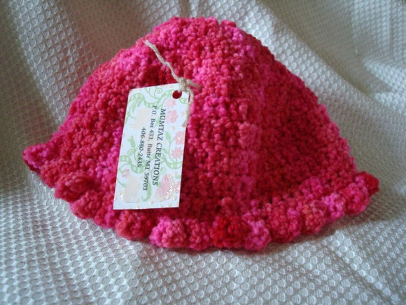 Pure Hand-Dyed Wool Crocheted Red and Pink Toddler Girl Bonnet Hat - Valentine 177