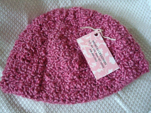 Youth Girls Hat Crocheted Beanie in Rose Mauve - 175