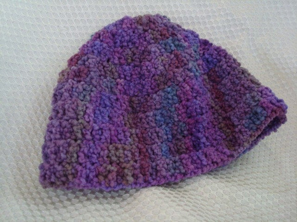 Toddler Girl Hand-Painted Pure Wool Crocheted Beanie Hat - Violets 179