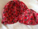 Mother Child Hand-Dyed Pure Wool Matching Hat Set - Chocolate Covered Cherries