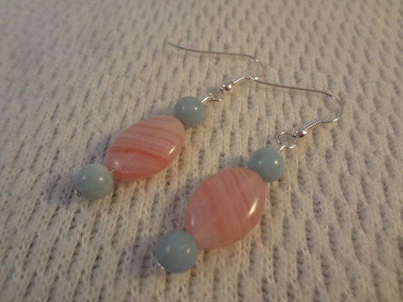 Genuine Amazonite and Pink Czech Glass Silver Handmade Earrings - Lisette F093