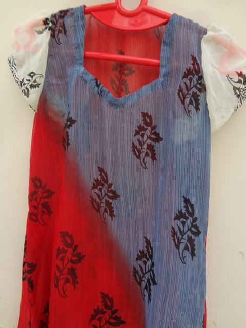 Lightweight, Long, Summer Indian Sari Silk Ladies Knee Length Dress, Beach Cover Up - Red, White, and Blue - Lianna F639
