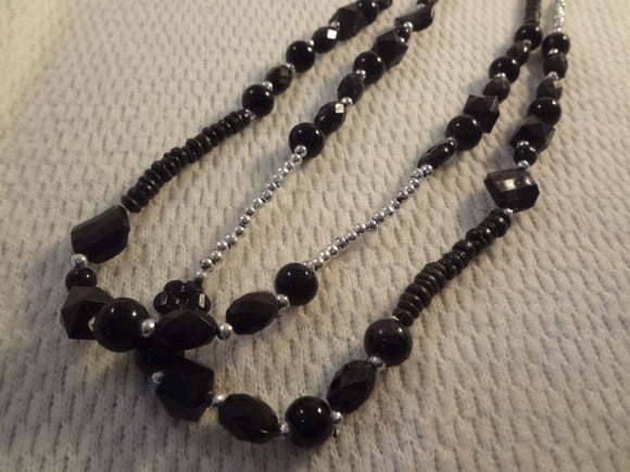 Multi Size Extra Long Black and Silver Beaded Partywear Necklace - F035