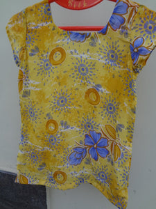 Sunshine Floral Print Sari Silk Women's Summer Shirt - Lily F630