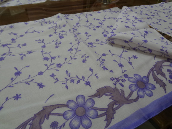 Indian Cotton Placemat and Napkin Set for Four or Five - Delicate Lavender Floral - Pune F510