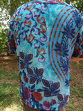 Blue Hues Men's Handmade Sari Silk Button Down Pocket Shirt - Size Large - Evan G690