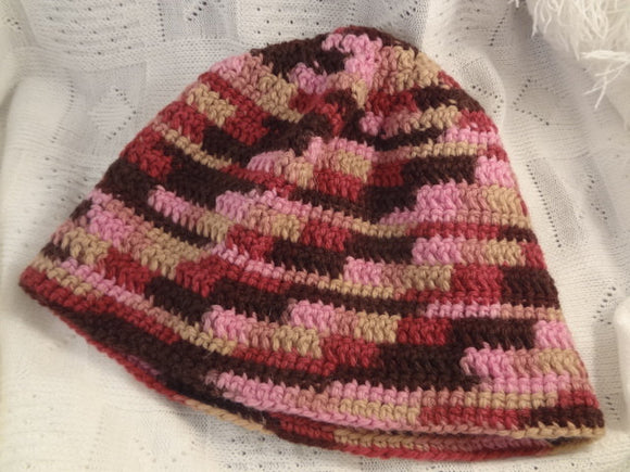 Soft All Wool Winter Beanie Hat in Mauve and Brown -  Dusk 699G