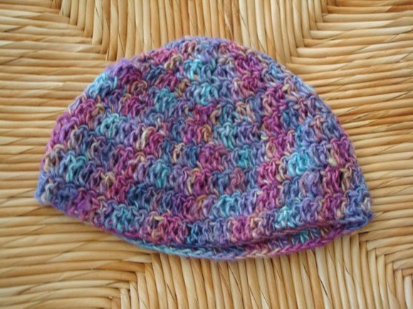 Lightweight Hand-Dyed Rayon\/Silk Crocheted Baby Girl Beanie Hat - Wild Rose 213