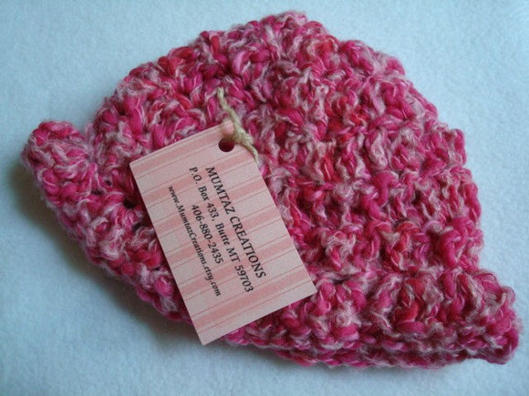 Fuchsia Pink Hand-Dyed Plied Cotton, Wool Baby Girls Crocheted Hat - Peppermint Twist 231