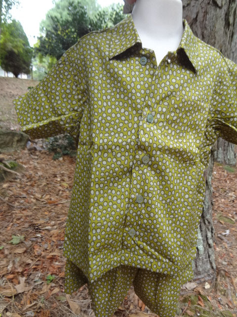 Toddler Boys Button Down Shirt and Shorts, Ethnic Indian Outfit - Matching Father Child - Simon 2966
