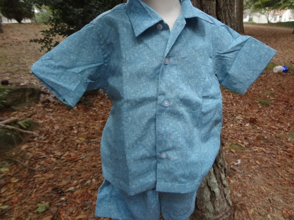 Toddler Boys Button Down Shirt and Shorts, Ethnic Indian Outfit - Matching Father Child - Anurak 2962