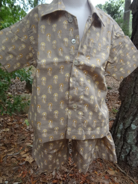 Toddler Boys Button Down Shirt and Shorts, Ethnic Indian Outfit - Matching Father Son Set - Chalerm 2963