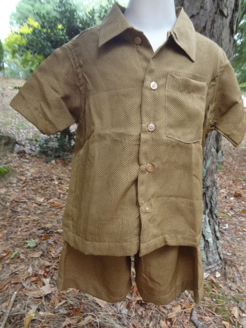 Toddler Boys Soft Button Down Shirt and Shorts, Original Outfit - Matching Father Son Daughter - Brown Accents - Otto 2969