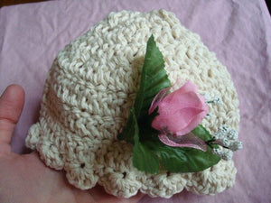 All Cotton Crocheted, Decorated Newborn Bonnet Hat - Rose Bud 256