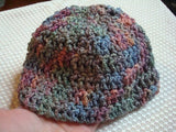 Infant Summer Beanie Hat - Crocheted of Hand-Dyed, Soft Rayon Cotton - Muted Green Mauve - Meadow 254
