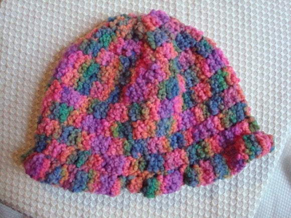Vibrant Colors, Hand-Painted All Wool Toddler Girls Hat with Ruffle - Fruitloops 246