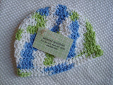 Pure Cotton Crocheted Baby Boy's Hat in Blue, Lime, and White - Sea Mist 274