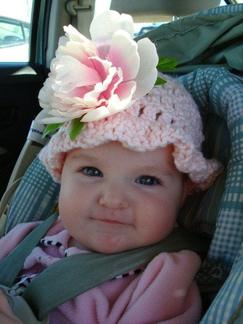 Pretty Peony Hand-Stitched Soft, Pure Cotton Baby  or Toddler Girl Bonnet Hat - 230
