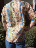 Native Village Men's Woven Sari Silk Button Down Pocket Shirt - Large or XL - Hopi G741