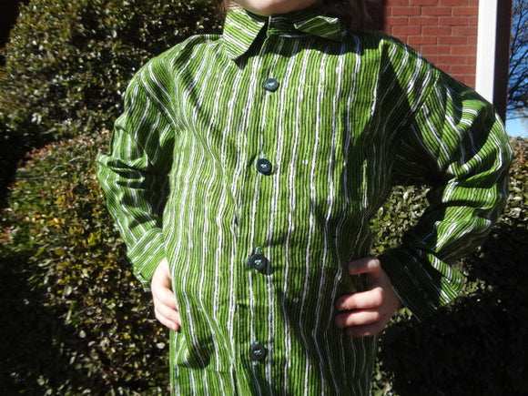Father Son Matching - Toddler Boys Long Sleeved, Ethnic Indian Cotton Button Down Shirt - Green Stripe - Lucas 2972