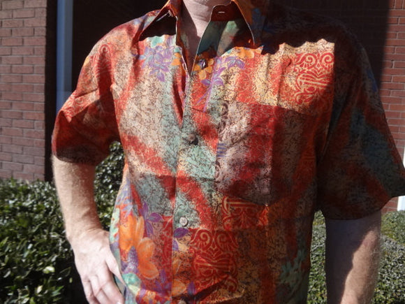Men's Woven Sari Silk Handmade Button Down Pocket Shirt - Size Small - Rust Muted Floral - Lachlan G745