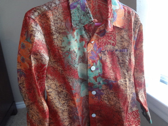 Father Son Matching - Toddler Boys Long Sleeved, Ethnic Indian Sari Silk Button Down Shirt - Rust Muted Floral - Lachlan 2974