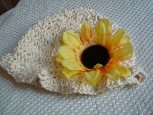 Crocheted Organic Cotton Summer Baby Girls Hat with Sunflower - Natural 297