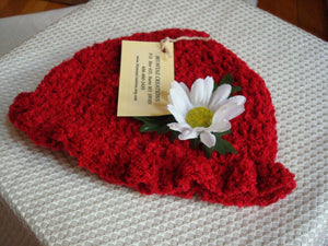 Handmade Cherry Red Baby Girls Hat with Daisy Flower Adornment - 288