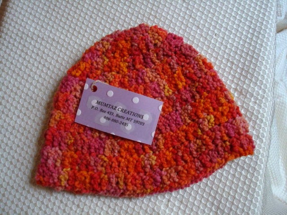 Incredibly Soft Hand Painted Wool Winter Toddler Hat - Orange and Pink - Poppy 108