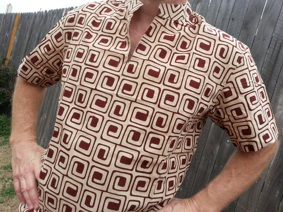 Natural Plant Dyed Men's Hand Block Printed Indian Soft Knit Cotton V Neck Casual Shirt - Size XL - Brown Concentric Squares on Ivory - Thomas H779