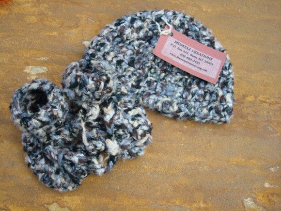 Soft, Washable - Baby Boy Bamboo Hat and Bootie Set - Zebra Tweed 340