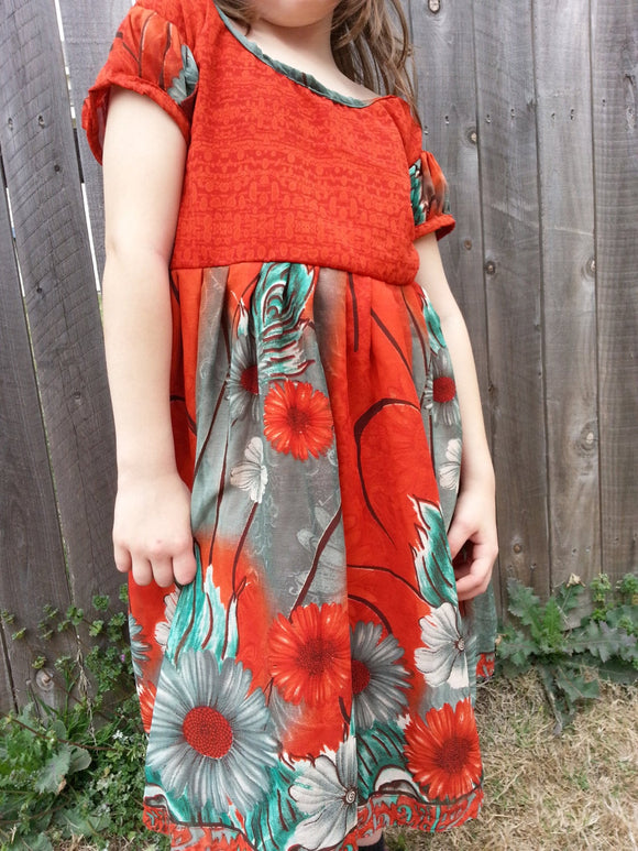 Sibling Matching - Little Girl's Original, Colorful Lined Sari Silk Long Summer Dress - Rust Green Floral - Mabruk 3068