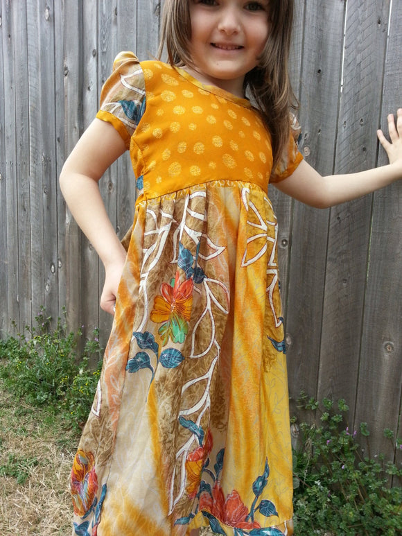 Little Girls Original Earthy Short Sleeves Sari Silk Long Summer Dress - Autumn Colors - Adelle 3067