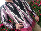 Men's Long Sleeve Handmade Sari Silk Button Down Dress Shirt - Black and Mauve - Size Large - Bodvar  H791