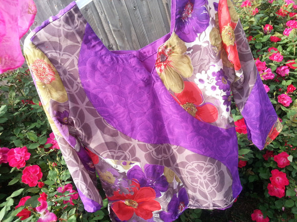 Women's Fancy Lined Sari Silk Blouse Shirt - Mother Daughter Matching - Size Large - Purple Floral - Jette H783