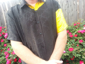 Asymetrical Men's Handmade Sari Silk Short Sleeve Button Down Casual Shirt - Shiny Black and Yellow - Gucci H790
