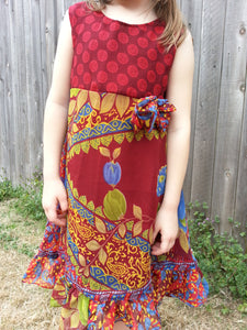 Mother Daughter Son Matching - Toddler and Little Girls Lined Sleeveless Sari Silk Dress - Barn Red Splash - Junayd 3066
