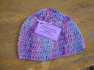 Natural Fiber, Cotton Linen,  Hand-Painted Toddler Girls Beanie Hat - Purple Rain 337