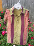 Youth Boys Short Sleeve, Ethnic Indian Sari Silk Button Down Shirt - Burgundy Olive - Tobias 3075