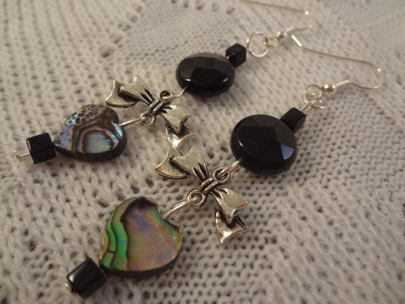 Black Onyx, Abalone Heart, Bow Tie Long Dangle Stone Silver Finish Earrings - Simone G102