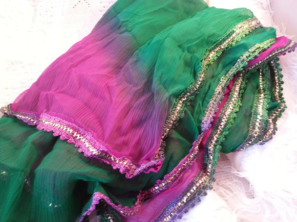 Elegant Purple and Green Fading Large Silky Chiffon Scarf Wrap with Fancy Edges - G697