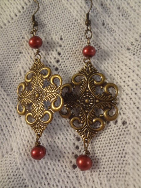 Antique Brass Filigree Drop Red Pearl Earrings - Ninette G099