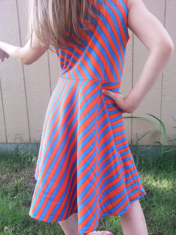 Toddler and Little Girls Original Handmade Cotton Sleeveless Knee Length Dress - Royal Blue and Orange Diagonal Stripe - Amari 3082